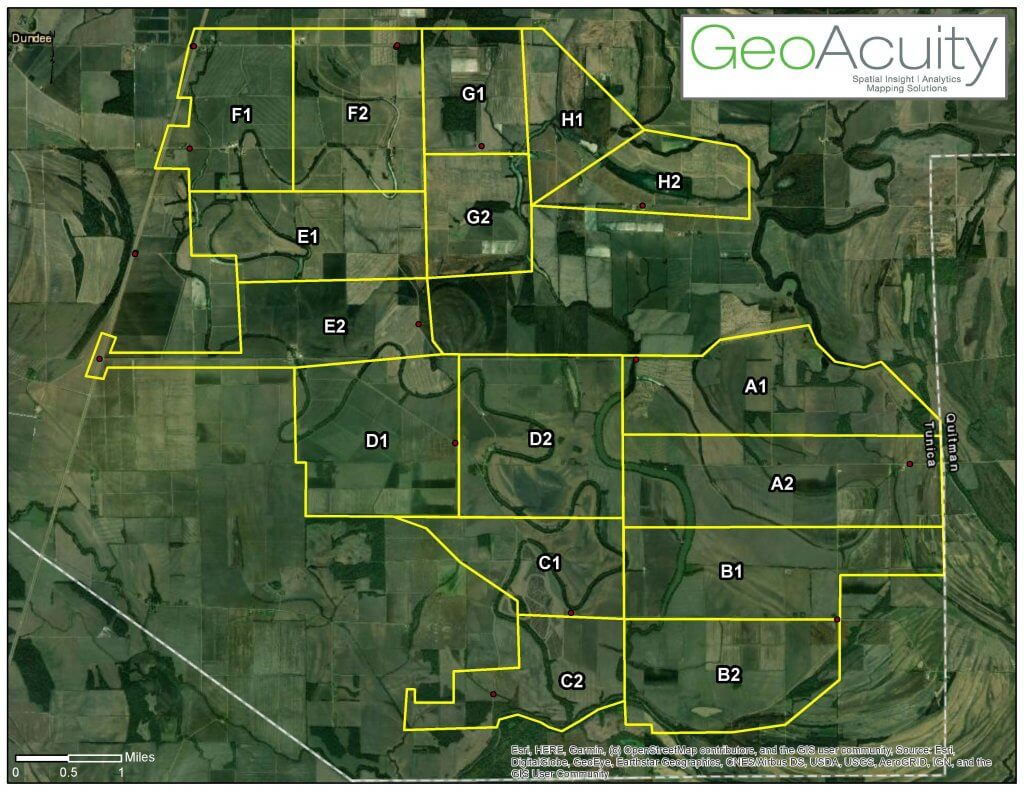 GeoAcuity's map of the mission area, broken into alphanumeric blocks for efficient collection.