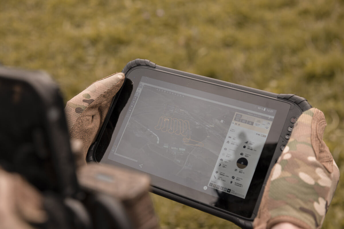 senseFly eMotion drone mission and flight planning software running on a mobile tablet in the field