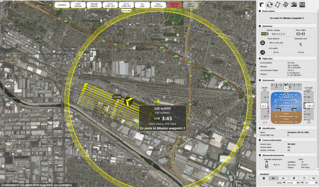 An eMotion 2 screenshot showing one of the project's 41 UAV flights in progress.