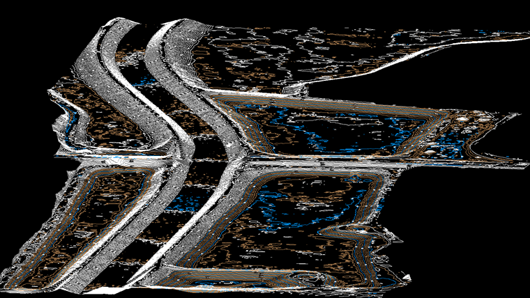 A section of a contour map showing the Rio Hondo river, situated within the rail project's limits.