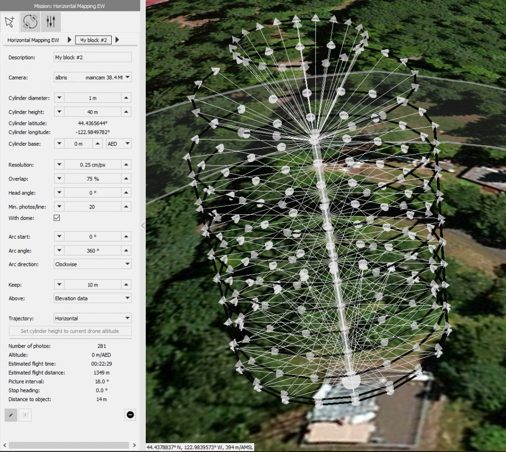 Planning the inspection of an Oregon communication tower using the Cylinder mission block function inside the albris drone's eMotion software.