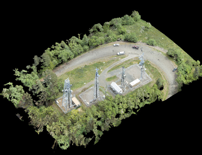 A drone-sourced 3D point cloud showing communication and cell phone towers in Washburn Butte, Oregon.
